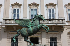 Bronze horse statue in Mirabell gardens Stock Photos