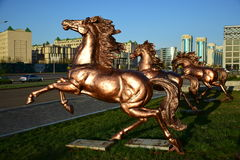 Bronze horse statue(s) in Astana Stock Photography