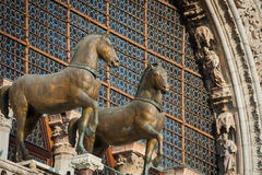 Bronze horse statues on St. Mark`s Cathedral, Venice, Italy Royalty Free Stock Photos