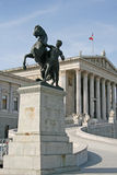 Bronze horse tamer statue in front of Austrian Parliament Building in Vienna, Austria Royalty Free Stock Image