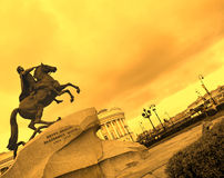 The Bronze Horseman. Is an equestrian statue of Peter the Great by Étienne Maurice Falconet in Saint Petersburg, Russia. The statue is now one of the symbols Stock Image