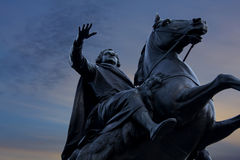 The bronze horseman. On the background of a sunset in St. Petersburg royalty free stock images