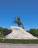 Bronze Horseman, Saint Petersburg. Bronze Horseman on blue sky, Saint Petersburg Stock Image