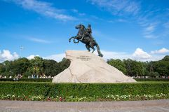 The Bronze Horseman. Is an equestrian statue of Peter the Great in the Senate Square in Saint Petersburg, Russia Stock Photo