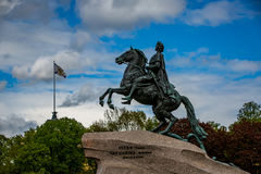 The Bronze Horseman. Commissioned by Catherine the Great, named for a Pushkin poem & completed in 1782 on display in St. Petersburg, Russia Stock Images