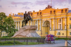 Bronze Horseman and Constitutional Court. St. Petersburg. Royalty Free Stock Images