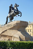 Bronze Horseman, equestrian statue of Peter the Great in Saint Petersburg Stock Images