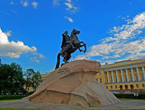The Bronze Horseman. An equestrian statue of Peter the Great in the Senate Square in Saint Petersburg, Russia - June 2016 Stock Photo