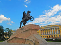 The Bronze Horseman. An equestrian statue of Peter the Great in the Senate Square in Saint Petersburg, Russia - June 2016 Stock Images
