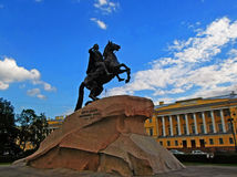 The Bronze Horseman. An equestrian statue of Peter the Great in the Senate Square in Saint Petersburg, Russia - June 2016 Royalty Free Stock Photography