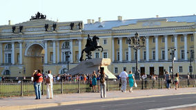 Bronze Horseman is an famous equestrian statue of emperor Peter the Great stock video