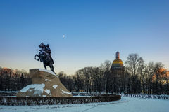 Bronze horseman and Isaac cathedral in evening Royalty Free Stock Photos