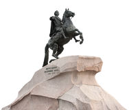 The Bronze Horseman isolated on white. Monument of Russian emperor Peter the Great, known as The Bronze Horseman, Saint-Petersburg, Russia. Isolated on white Stock Photos