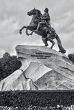 The Bronze Horseman,literally in Russian. Saint. The Bronze Horseman,literally in Russian: Copper horseman, is an equestrian statue of Peter the Great in Saint Royalty Free Stock Image