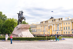 Bronze Horseman, monument to Emperor Peter I the Great on the Senate Square. Royalty Free Stock Photo