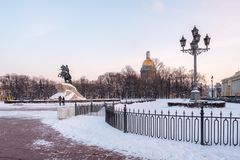 Bronze Horseman;Monument to Peter the Great; on the Senate Square in St. Petersburg in winter Royalty Free Stock Photography