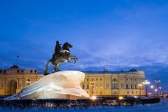 Bronze Horseman & x28;Monument to Peter the Great& x29; on the Senate Square in St. Petersburg in winter Stock Photo