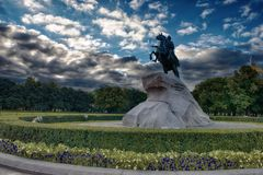 Bronze Horseman - Monument to Peter Great in St. Petersburg Royalty Free Stock Images
