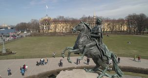 The Bronze Horseman. Bronze horseman, a monument to Peter the Great in St. Petersburg, aerial photography from the dron stock footage