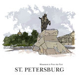 ST. PETERSBURG, RUSSIA - Bronze Horseman, monument to Peter the Great, St. Petersburg, Russia. Hand created sketch. Postcard Royalty Free Stock Photo