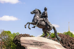 Bronze Horseman - Monument to Peter the Great in St. Petersburg, Royalty Free Stock Images