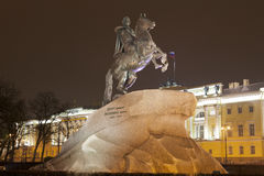 Bronze Horseman - monument to Peter I on Senate Square in St. Petersburg Stock Photos