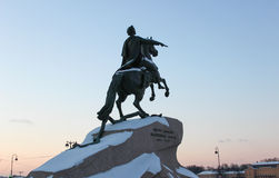Bronze Horseman, Monument to Petere First, Saint-Petersburg. SAINT-PETERSBURG, RUSSIAN FEDERATION: view with Bronze Horseman, Monument to Petere First on January royalty free stock photography