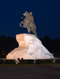 Bronze horseman at night Royalty Free Stock Photography