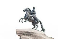 Bronze Horseman in Saint Petersburg, isolated on white backgroun. Bronze Horseman - Monument to Peter the Great, it was  created  in 1782, one of  symbols of St Stock Image