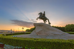 The Bronze Horseman in St. Petersburg in the Rays of the Rising Stock Photography