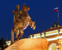 Bronze Horseman Statue at Night, Saint Petersburg, Russia Royalty Free Stock Photos