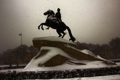 Bronze horseman in a storm Royalty Free Stock Photo