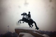 Bronze horseman in a storm Stock Photography
