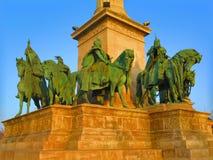Bronze horsemen in Budapest,Hungary. The seven bronze horsemen in Heroes square,Budapest,Hungary Stock Photos