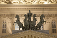 Bronze horses quadriga on The State Academic Bolshoi Theatre of Russia pediment after renovation stock photography