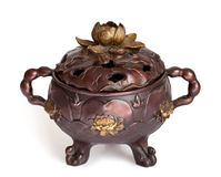 Bronze incense burner with lotus Stock Photography
