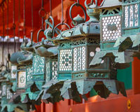 Bronze lanterns at Kasuga Taisha in Nara Royalty Free Stock Image