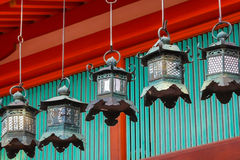 Bronze lanterns at Kasuga Taisha in Nara Stock Image