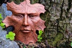 Bronze leaf face sculpture Stock Photos