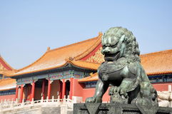 Bronze Lion. In Forbidden City Bejing Royalty Free Stock Images