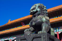 Bronze lion. In the Imperial Palace Royalty Free Stock Photos