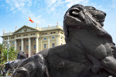 Bronze lion at the base of the Columbus Monument in Barcelona, S Stock Image