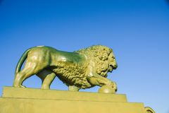 Bronze lion figure on pedestal. Bronze lion against the clear sky holds cannonball in paw. St.Petersburg, Russia royalty free stock images