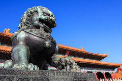 The Bronze Lion. In the forbidden city Royalty Free Stock Photos