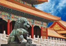 Bronze lion in Forbidden City. Bronze lion near the entrance to Emperor Temple in Forbidden City royalty free stock image