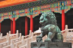 Bronze lion in Forbidden City Royalty Free Stock Image
