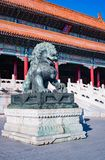 Bronze lion in the forbidden city. Bronze lion in the famous forbidden city. The forbidden city was the Chinese imperial palace from the Ming dynasty to the end royalty free stock photos