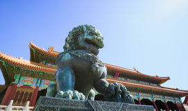 Bronze lion in the Forbidden City Royalty Free Stock Photo