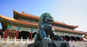 Bronze lion in the Forbidden City Stock Images