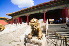 Bronze lion in Forbidden City Royalty Free Stock Images